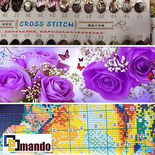 "Estampillés Cross Stitch Kit ""purple roses"" 47 ""x 14,8"" Grand motif fleuri"