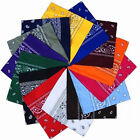 100% Cotton Dacron Paisley Bandanas Double Sided Head Wrap Scarf Unisex 20 Color