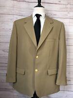 LL Blean Men's 50R Two Gold Button Blazer Sport Coat Jacket Beige Polyester