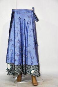 Long Silk Sari Skirt Handmade Magic Wrap Skirt Two Layer Sari Wrap Skirt 5056
