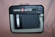Swiss + Gear Front Pocket Wallet w/ Money Clip Genuine Leather & Nylon BlackGray