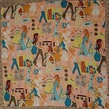 "1970's Vintage Scarf Fashions & Ladies Printed on Peach 20"" sq Teal Brn Ylw Grn"