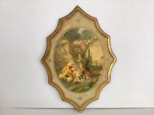 Vintage 2 Gold Gilt Italian Florentine Tole Wood Wall Plaque Victorian