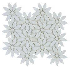 Crystal White Marble Flower Mosaic Tile Sheet - Box of 10 Pcs