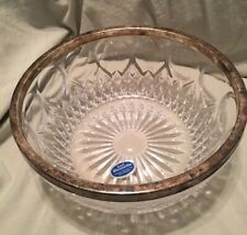 "Vintage Kent Silversmiths 8.25"" Lead Crystal Glass Bowl w Silver Rim W. Germany"