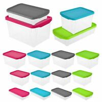 Plastic Space Saving Storage Box Coloured Lids Organiser Space Stacking Boxes