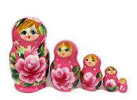 "Matreshka MATRYOSHKA Small 5 Nesting Doll Rose Floral AUTHENTIC RUSSIAN Gift 4"""