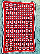 Granny Square Throw Red White Blue Patriotic Blanket Warm Decorative Handcrafted