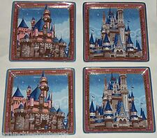 Disney Cinderella Castle Sleeping Beauty Plate Set Theme Parks Lot of 4 Plates