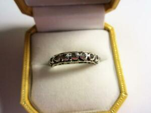 Vintage 9ct GOLD & SILVER PASTE DIAMOND ETERNITY RING!