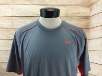 Nike Dri-Fit Athletic Shirt Men's L Gray and Orange SS