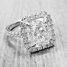 Exceptional 2.76 Ct. Cushion Cut Pave Diamond Engagement Ring H, VVS1 GIA 18k WG
