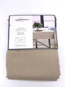 """Threshold Oblong Tablecloth Beige/Tan, 60""""x120"""", Seats 10 to 12"""