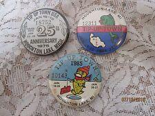 3 Vintage Houghton Lake, Michigan Tip-Up-Town pin / badges, 1975, 1984,1985