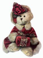 """Bearington Bears """"Virginia"""" Christmas Plush Red Velvet Faux Fur Trim Coat Gift"""