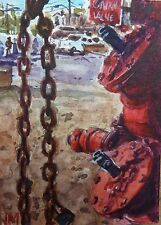 Main control valve ACEO collectible art Card Original Watercolor Painting