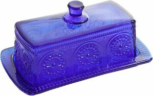 Pioneer Woman Adeline Cobalt Blue Butter Dish Embossed Pressed Glass Kitchen