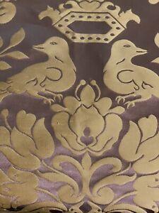 SCALAMANDRE 'LOVE BIRD' CHOCOLATE SILK DAMASK FABRIC REMNANT, 1/2 YD.