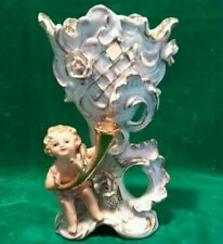 Vintage Cherub Vase Hand Painted Gold Accents Made in Japan Marked NC
