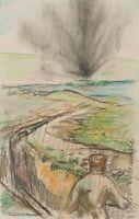 BURGER, Kriegsszene mit Soldaten und Explosion in der Ferne, 20. Jh., Buntstift