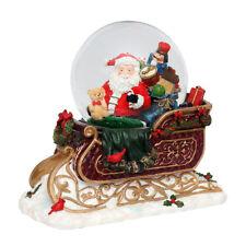 Sigro Schneekugel Schlitten mit Santa 24cm hoch Farbwechsel Sound Glitter 501362