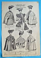 1905 Ancienne Publicité Gravure Modes Confection Mantelet tulle Manteau drap