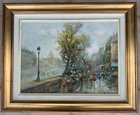 "Mario Passoni Impressionist Paris Street Art, Vintage, Signed, Certified 17""x21"""