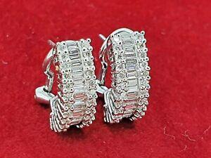 Round & Baguette Diamond Cluster Curved Omega Earrings 18K White Gold 3.8 ctw