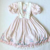 Daisy Kingdom Dress Girls Sz 10 Pink/White Floral Vintage Collar Bow Full Modest