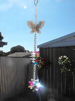 1 x suncatcher mobile lead crystal glass beads butterfly fairy garden rainbow