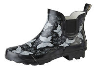 Ladies Butterfly Print Ankle Wellies Short Slip On Wellington Boots Sizes 3 to 9