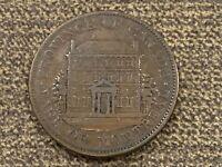 1844 Lower Canada 1/2 Half Penny Sou Bank Token Copper Coin Montreal