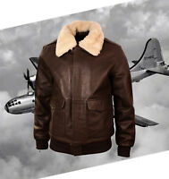 New Men Bomber A-2 Genuine Leather Fur Collar Pilot Flying Jacket Brown Jacket