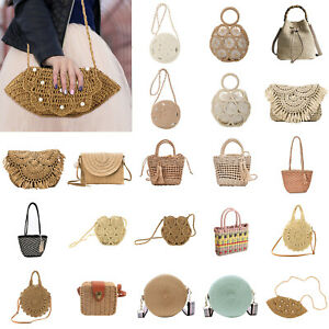 Straw Woven Shoulder Messenger Bags Women Weave Beach Travel Handbag Girls LOT