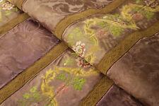 Ecclesiastical Antique Silk Damask Textile Part of Priest Attire Metallic Thread
