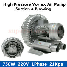 750W Industrial High Pressure Vortex Vacuum Pump Dry Air Blower Fan 220V 1HP