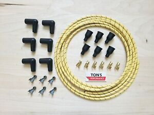 v6 inline 6 cylinder Cloth Covered Spark Plug Wire Kit Set Vintage Wires Yellow