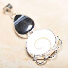"Handmade Shiva Eye Shell Gemstone Pure 925 Sterling Silver Pendant 2.5"" #P14582"
