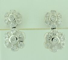 14k Solid White Gold Clover Dangling 1.20 ct Natural Diamond Earring cluster