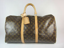 "Authentic LOUIS VUITTON: Brown, Monogram Logo, ""Keepall 50"" Travel Tote Bag"