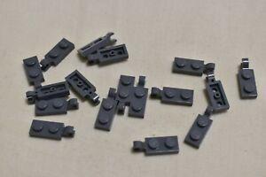 Lego 17 Stück 63868 Technic 1x2 Platte Clip seitlich Halter neu-dunkelgrau