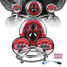 """7"""" LED Projector Headlight + Passing Lights+ Mounting Ring For Moto Touring BL"""