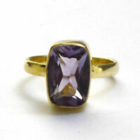 Genuine Cushion Purple Amethyst Gemstone Sterling Silver Yellow Gold Gift Ring