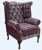 Chesterfield Queen Anne Wing Armchair Wool Tweed Skye Amethyst Purple Leather