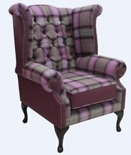 Chesterfield Queen Anne Wing fauteuil laine tweed Skye Améthyste Violet en Cuir