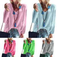 Women Loose T-Shirts Tops Ladies 3/4 Sleeve Plain Slouch Blouse Casual Baggy Tee