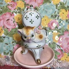 Vtg Caramel & White Bumpy Fur Kitten Kitty Cat Sitting On Chair Figurine Japan