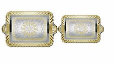 2 Piece Silver Plated Decorative Serving Tea Tray Set w/Gold  ST21147 17 & 14 in