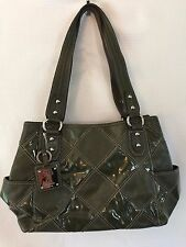 Tignanello Women's Handbag Purse Pebbled Patent Leather Dark Green Satchel