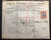 1912 Matehuala SLP Mexico Hotel Villazon Commercial Cover To Paris France